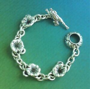STERLING SILVER BARRY KIESELSTEIN CORD LEAPING FROG LILY PAD TOGGLE BRACELET