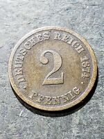 1874 C Germany 2 Pfennig Coin