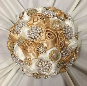 New Ivory/Gold Satin Roses, Gold Pearl Diamante Brooches, Brides Wedding Bouquet