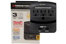 New Monster Power EXP 350 USB Wall Tap Surge Protector 3 Outlets & 2 USB Ports