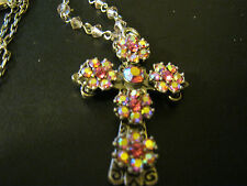 KIRKS FOLLY AURORA BOREALIS CRYSTAL CROSS WITH REMOVABLE 20 INCH NECKLACE, NEW