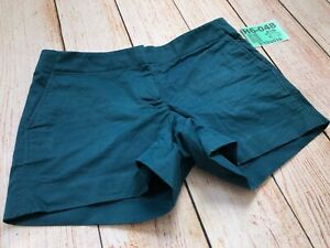 J.Crew Women Esplanade Flat Shorts Pockets Teal Green 41024 Cotton Size 4❄️H6