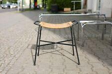 TRUE VINTAGE RATTAN KORB HOCKER 60er String wicker Legler 60s Fussteil zum Stuhl