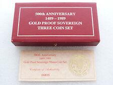 1989 Royal Mint Tudor Rose Sovereign Gold Proof 3 Coin Set Box & Coa Only