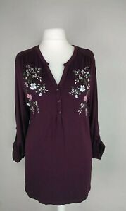 LONG TALL SALLY EMBROIDERED JERSEY TOP ROLL TAB SLEEVES SIZE XL 22/24 NWOT