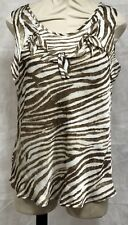 Ladies Brown And Beige Short Sleeve Top Size Large By New Directions