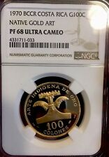 1970 Costa Rica 100 Colones Native Gold Art NGC PFUC 68 1 of 2