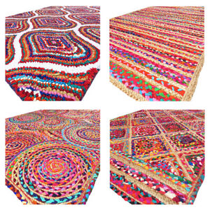Colorful Woven Jute Chindi Braided Area Decorative Rag Rug Indian Bohemian Accen