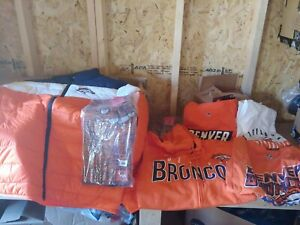 Denver Broncos Value Pack. 3 t shirts sweatshirt puffy coat 2 scarf and 2 gloves