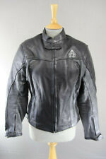 FIGO BLACK & SILVER LEATHER BIKER JACKET WITH REMOVABLE CE ARMOUR: SIZE 14