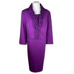 KASPER Women 2PC Polyester Rayon Blend Stretch Lined Ruffle Dress Suit Size 16W