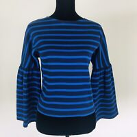 J.CREW NWT Women Navy & Blue Striped Bell Long Sleeve Blouse Top Size XS X Small
