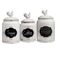 Home Essentials 3 PC Rooster Canisters - Chalkboard Storage Jars, Red or Ivory