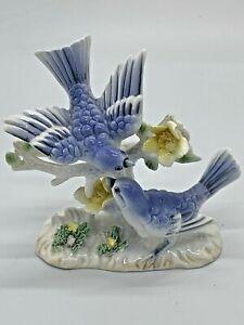 Vintage Bluebirds Porcelain Figurine Made in Japan
