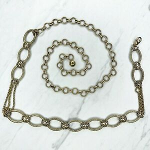 Chico's Gold Tone Textured Open Oval Belly Body Chain Link Belt One Size OS