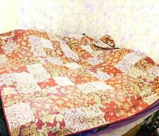 Twin Bed Pink Red  Floral  Quilt