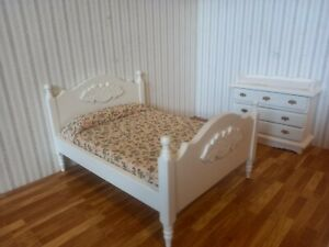 dolls house white bedroom set 1/12th scale