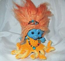 "3"" OCTO-PRINCESS TROLL / Custom crochet octopus dress, necklace, new hair, paint"