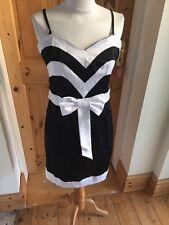 Ladies Size 10 Black White Cotton Club Party Dress Bow Detail nwt