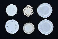"6 Vintage Doilies 4 Embroidered White 2 Ecru Crochet Edge & Battenberg 5"" & 6"""