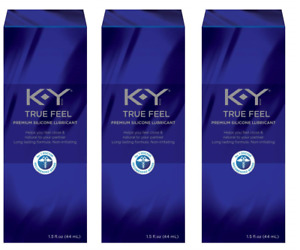 KY True Feel Premium Silicone Personal Lubricant, Long Lasting, 1.5 oz (3 Pack)