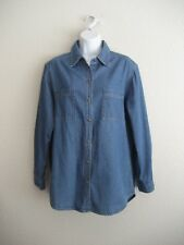 CHICO'S DESIGN LONG SLEEVE BUTTON FRONT SHIRT WITH BACK EMBROIDERY SIZE: 1 CHICO