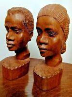 Paire buste sculpte Vintage African bois Hardwood Busts afrique tribal lot