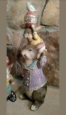 "NWT 13.5"" RAZ Bunny Rabbits Egg & Bird Stack Easter Spring Figurine Decor"