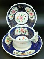 Antique Tea Cup Saucer Set Navy Blue Stoneware England Hand Painted