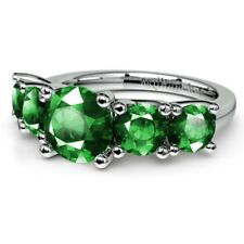 2.00 CT Emerald Gemstone Diamond Ring Real 14K White Gold Rings Size J K M O