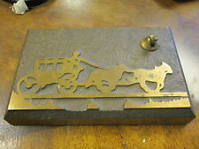 VINTAGE SHEAFFER'S Pen Desktop Holder - Brass EMBOSSED STAGE COACH  ART DECO