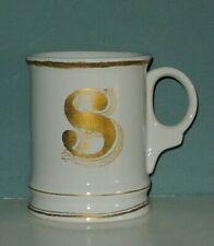 Williams Sonoma Gold Filigree Mug Letter S Initial Cup Ceramic Coffee Monogram