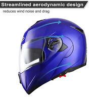 New DOT Flip up Modular Full Face Motorcycle Helmet Dual Visor Motocross Blue XL