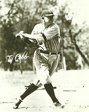 TY COBB DETROITS CLASSIC FRANCHISE PLAYER IN HIS HOME RUN SWING COPY OF AUTO
