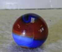 #10792m *Mint* Vintage Marble King Rainbow Spider Man Marble With Oxblood .61 In