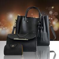 3Pcs Women Lady Leather Handbag Shoulder Crossbody Evening Bag Tote Purse Set
