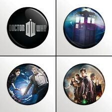 "4-Piece DR DOCTOR WHO (Set 1 of 2) 1"" Pinback Band Buttons / Pins / Badges Set"