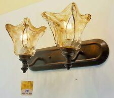 Olde Auburn Finish Bathroom Vanity Light Bracket Kichler Lighting Rustic Glass
