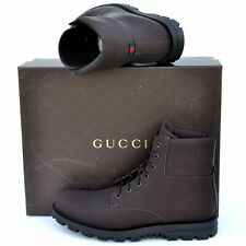 GUCCI New sz 9.5 G - US 10 Designer Web Logo High Top Mens Ankle Boots Brown