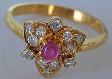 0,28 ct ღ Lucky Diamonds ♥ Rubin Ring in aus 750 Gold Damen mit Diamant Brillant
