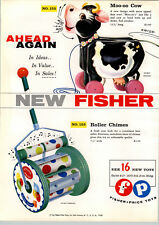 1958 PAPER AD Fisher Price Toys Moo-oo Cow Roller Chimes