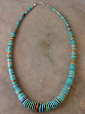 Hand Rolled Turquoise Apple Coral & Dyed Mohave Necklace By Ronald Chavez