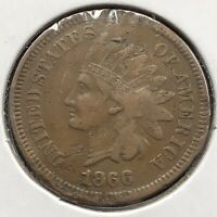 1866 Indian Head Cent 1c One Penny High Grade XF Details #10844
