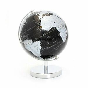 Lesser & Pavey Black & Silver World Globe, Metal, 19cm