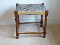 Antique Vintage Turned Leg Oak Stool With String Woven Seat 39cm x 31cm x 37cm
