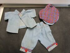 Vintage Blue Jean outfit with cap for 10/11 inch doll 60' s era 3 piece set
