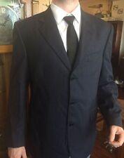 NEW Men's Lubiam Italian Virgin Wool Sleek 2-Piece Suit Dark Navy Blue Classic!