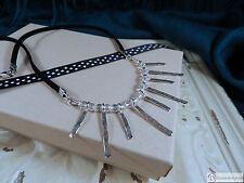 "Sterling Silver & Crystal Bead Bib Necklace ~ 18"" Black Suede"