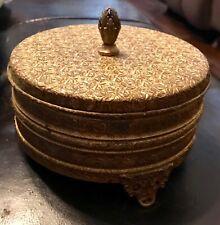 Vintage Thorens Reuge Gold Filigree Swiss Musical Vanity Powder Box Music Box
