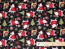 Santa's Gifts on Black Debbie Mumm Christmas Fabric by the 1/2 Yard  #67491